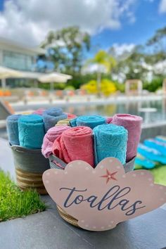 Take a look at this gorgeous under the sea birthday party! The towel party favors for guests to enjoy at the pool party are wonderful! See more party ideas and share yours at CatchMyParty.com #catchmyparty #partyideas #donutparty #donuts #undertheseaparty #mermaids #mermaidparty #girlbirthdayparty #poolparty Summer Birthday, Girl Birthday, Birthday Parties, Boy Party Favors, Craft Party, Summer Cakes, Donut Party, Under The Sea Party, Party Planning