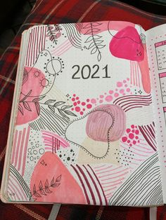 Pink dots and lines cover page for my 2021 bullet journal spread #yearly #pink #spots #lines #bulletjournal #bulletjournalinspiration