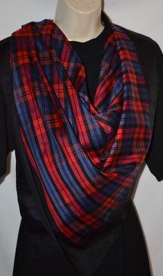 Pañuelo de seda en el conjunto rojo del negro reloj de tartán, 36 pulgadas cuadradas