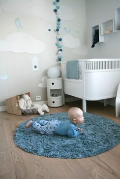baby room complete set flooring round blue carpet