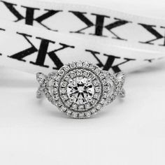 Diamond engagement ring by Kalfin Jewellery #diamondringsmelbourne#engagementringsmelbourne#custommaderings#melbournecityjewellers#doublehaloengagementrings#infinity#diamondinfinityrings#design#details#cbdjewellers#melbourne  http://www.kalfin.com.au/bridal/engagement-rings/halo/