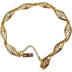 Rare antique Art Nouveau bracelet in 18K stamped solid gold and rose cut diamonds, bicolor filigree and geometric design