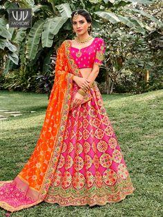 Rs11,000.00 Orange Lehenga, Raw Silk Lehenga, Banarasi Lehenga, Lehenga Skirt, Indian Lehenga, Silk Dupatta, Lehenga Blouse, Bridal Lehenga Online, Lehenga Choli Online