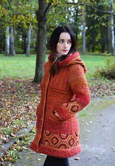 Kabáty - Kabátik TERRACOTTA TOUCH - 7304491_ Creative Knitting, Crochet Clothes, Terracotta, High Neck Dress, Turtle Neck, Coat, Crochet Tops, Sweaters, Dresses