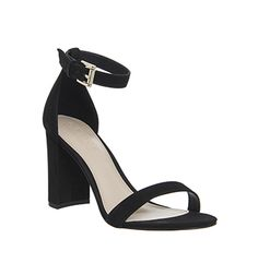 Office Nina Block Heel Sandals Black Nubuck - High Heels