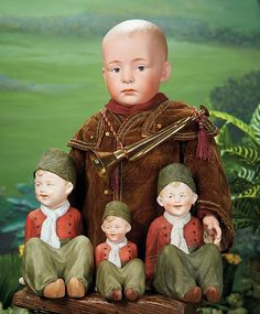 Three German All-Bisque Seated Dutch Boys. Lot # 81. Large German Bisque Character, 7602, by Gebruder Heubach. Lot # 82