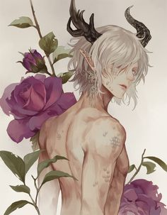 male anime demon with horns, flowers, elven ears