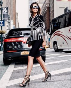 A Fringed Statement Top With a Pencil Skirt and Strappy Shoes