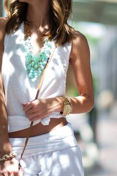 Green necklace with white