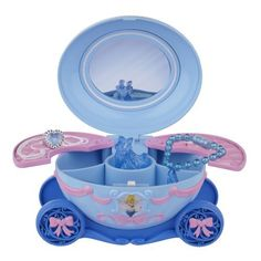 Disney Princess - Cinderella Deluxe Jewelry Box by Disney Princess. $18.88. From the Manufacturer                The Cinderella Deluxe Jewelry Box is a perfect keepsake present for the little princess in your life. This enchanted musical jewelry box will be a welcome addition to any royal bedroom. Shaped just like Cinderella's iconic pumpkin carriage, this jewelry box plays music, and features dancing Prince Charming and Cinderella figurines. Also comes with a mag...