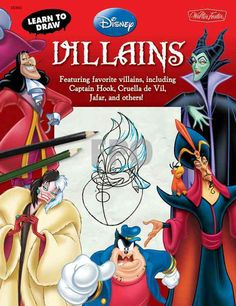 From a wicked queen and an evil stepmother to a dark sorcerer and devious strawberry-scented bear, young fans of classic Disney and Disney/Pixar films will enjoy drawing the villainous characters ever