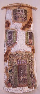sandylandya@outlook.es Tegola - erzsilapja.lapunk.hu Miniature Gardens, Fairy Gardens, Adobe House, Roof Tiles, Fairy Land, Sweet Memories, Clay Art, Cottages, Painted Furniture