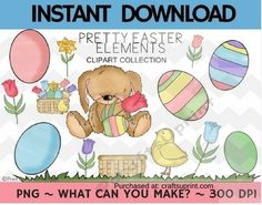 Pretty Easter Elements Clipart Collection  Commercial Use by Christy Townzen These images are perfect for all your paper craft scrapbooking and planner sticker needs. Created at 300 dpi for excellent print quality each image comes in PNG format with a transparent background.To sell printable templates andor printed items at craft & vendor shows on personal websites andor multi-vendor websites s