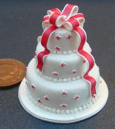 1:2 Scale Wedding Cake Dolls House Miniature Food Accessory X