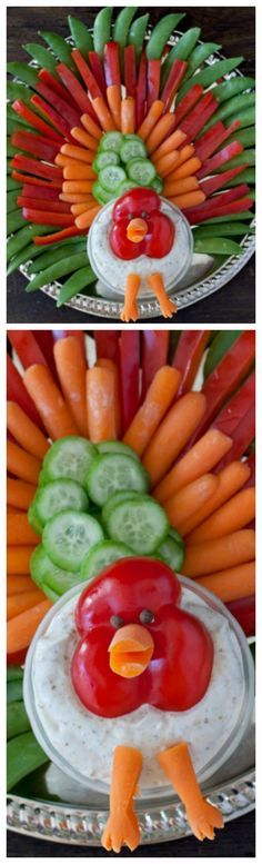 Thanksgiving Turkey Veggie Tray ~ Fun and cute... Great way to get kids to eat their veggies