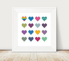 Geometric Hearts Cross Stitch Pattern DMC Threads by KnitSewMake