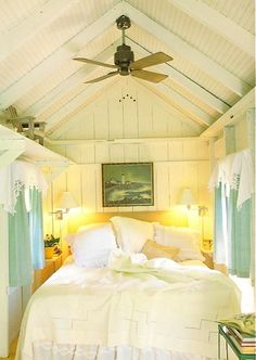 Adorable tiny shabby chic / coastal cottage style bedroom. It would make a great Tiny House bedroom loft! It would add such great light to the whole house!