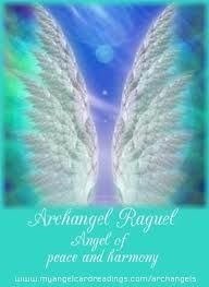 """Archangel Raguel * Color Pale Blue * Gemstone Aquamarine. Clairsentience  Harmony,Arguments,resolving,Orderliness. """"Archangel Raguel, thank you for intervening into my relationship with _______bringing both of us to a level of peace and harmony.""""   Thank you, Raguel."""""""