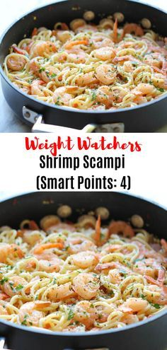 Weight Watchers Shrimp Scampi Come with only 4 Smart Points! - Weight Watchers Shrimp Scampi Come with only 4 Smart Points! Weight Watcher Desserts, Weight Watcher Dinners, Weight Watchers Shrimp, Plats Weight Watchers, Weight Watcher Shrimp Scampi Recipe, Skinny Recipes, Ww Recipes, Seafood Recipes, Cooking Recipes