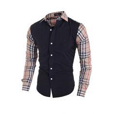 USD9.99Fashion Turndown Collar Long Sleeves Plaids Patchwork Black Cotton Blends Shirts