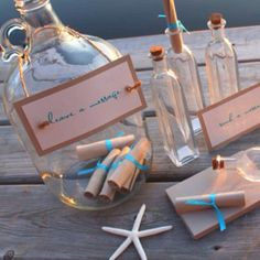 Message in a bottle for the married couple- great idea for beach theme wedding