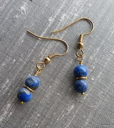 Small Earrings – Blue Lapis lazuli earrings, short simple – a unique product by…