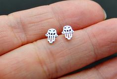 Extra Small Sterling Silver Hamsa Hand Earrings - Hamsa Stud Earrings - Silver…