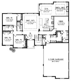 The Martin Place Ranch Home has 4 bedrooms, 2 full baths and 1 half bath. See amenities for Plan 051D-0749.