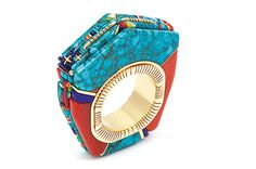 Glittering World: Navajo Jewelry of the Yazzie Family - 14k gold ring with coral, turquoise, opal, and sugilite