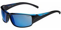 Bolle Keelback Sunglasses - Polarized Offshore Blue Lens by Bolle. Frame Color: Shiny Black/Blue Trans. Lens Color: Offshore Blue oleo AF. Size: Medium/Large. Bolle Keelback Sports Polarized Sunglasses for Men.