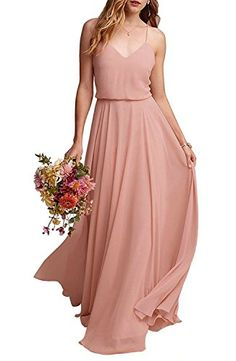 23511aad29 EverLove Women s Long Spaghetti Straps Prom Dress Chiffon Bridesmaid Dresses  Blush US6