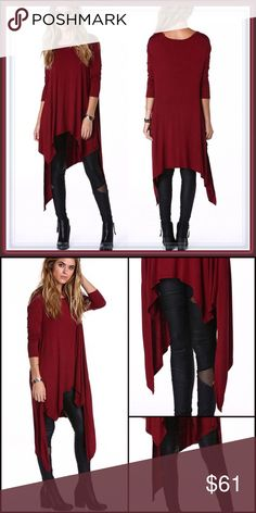 NWT Asymmetrical hem long sleeve tunic ➖NWT ➖SIZE: Small, Medium, Large, 1X ➖STYLE: A long sleeve knit wine/red colored tunic with an irregular / asymmetrical hem. Tops Tunics