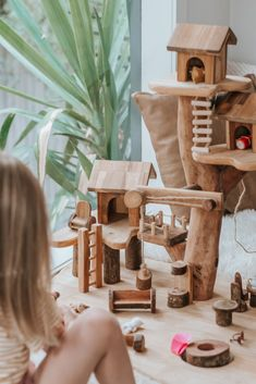Village Tree House *Bulky Delivery* — Nestling and Nook Fairy Tree Houses, Cool Tree Houses, Montessori, Wooden Tree House, Toy Trees, Tree Forts, Small World Play, Homemade Toys, Waldorf Toys