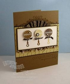 Baby Rattle Card with Stampin' Up! stamps and Score Pal.  Would ♥ to try this in pink!