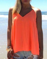 Casual Orange O-Neck Sleeveless Solid Regular Tees & T-shirts