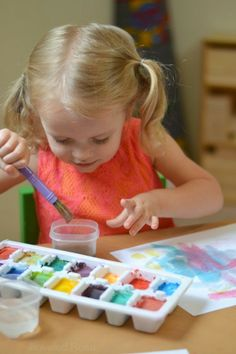 Make your own watercolor cakes using only two ingredients from your pantry. These watercolors are so easy to make, and they last for months! pantri, watercolor cake, kid crafts