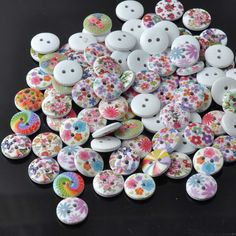 mixed Flower painted Wooden Sewing buttons handmade Scrapbooking Craft 50pcs 13mm MT0541xx #>=#>=#>=#>=#> Click on the pin to check out discount price, color, size, shipping, etc. Save and like it!