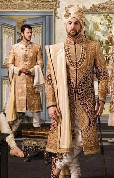Contact for getting your dream outfit made. Best of the custom made Indian Groom - Wedding interests Royal Indian Wedding, Wedding Dresses Men Indian, Wedding Outfits For Groom, Groom Wedding Dress, Wedding Suits, Bridal Outfits, Punjabi Wedding, Wedding Couples, Sherwani For Men Wedding