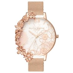 Olivia Burton Women's Floral Cuffs Bracelet Strap Watch, Rose Gold. #rosegold #watch #womenswatch #jewellery #blushpink #accessories