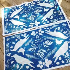 Cyanotype fabric for pillows drying