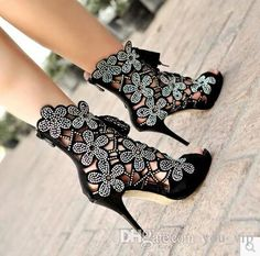Best 2015 Europe And The United States Uses Elegant Fashion Flower Adornment And Skin Fish Mouth Ultra Cool With Heel Shoes Boots Under $61.26 | Dhgate.Com