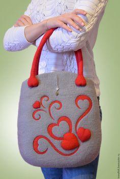"""Купить Сумка валяная """"Бэль"""", валяная сумка с сердцем, сумка валяная серая - валяная сумка"""