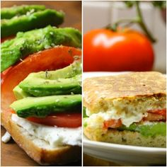 Grilled sandwich with tomato, avocado and feta