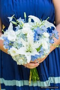 White stargazer lilies with blue flowers! Oh my goodness Bonnye they're per-fect