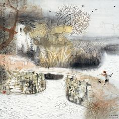 Fang Xiang (方向; b1967, Shanto City, Guangdong Province, China) | Ink on Paper | His famous 'COURTYARD' paintings on board ART●DWELL●Fang Xiang...