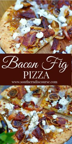 Tantalizingly sweet & savory Bacon Fig Pizza is topped with dried (or fresh) figs fig preserves chopped bacon goat cheese and shaved Parmesan. A true comfort food this wonderful flat bread recipe is perfect for brunch dinner or as an appetizer! Fig Flatbread, Goats Cheese Flatbread, Flatbread Pizza Recipes, Goat Cheese Pizza, Bacon Pizza, Fig Jam Pizza, Cheese Food, Wine Cheese, Lard