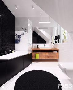 projekt 11 - Duża łazienka na poddaszu w domu jednorodzinnym jako salon kąpielowy z oknem, styl nowoczesny - zdjęcie od PASS architekci