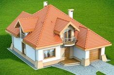 DOM.PL™ - Projekt domu DN Xara CE - DOM PC1-21 - gotowy koszt budowy Two Story House Design, House Gate Design, Kerala House Design, Simple House Design, Bungalow House Design, Modern Bungalow, Sims House Plans, Family House Plans, Dream House Plans
