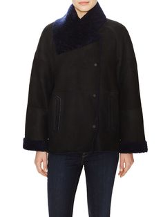 Bi-Tone Shearling Jacket from Vince on Gilt