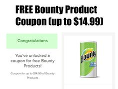 *HURRY* FREE Bounty Product Coupon (up to $14.99) http://www.freebiequeen13.net/free-samples.html